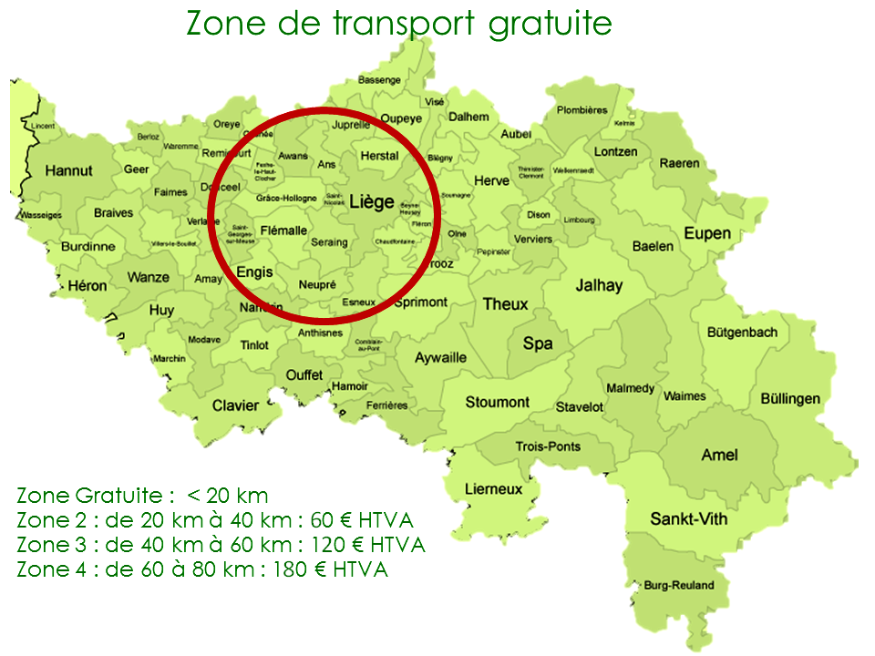 Carte des zones